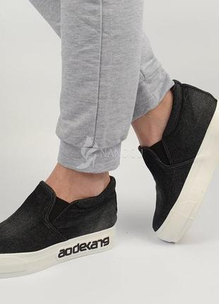 Кеды женские джинсовые черные на платформе jeans tm wonex слипоны