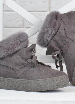 Ботинки женские зимние prima d'arte на платформе серые с опушк...