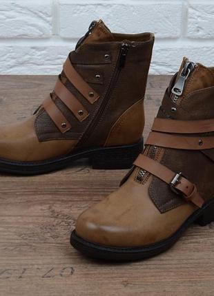 Ботинки женские завышенные с молниями west на каблуке