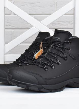 Ботинки зимние мужские термо кожаные трекинговые restime черны...