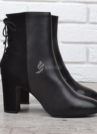 Ботильоны женские кожаные на каблуке черные river island оригинал
