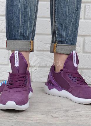 Кроссовки женские adidas tubular violet замшевые