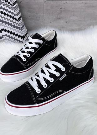 Стильные текстильные чёрные кеды