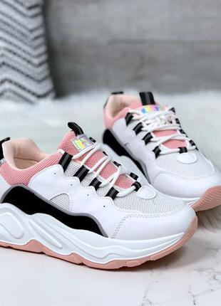 Стильные бело-розовые кроссовки на платформе