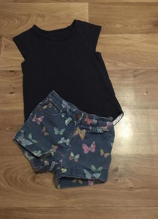 Комплект джинсовые шорты и майка от next на девочку 2-4 лет