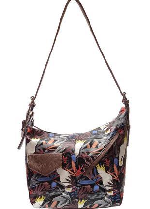 """Оригинальная женская кожаная сумка на плечо с принтом """"джунгли..."""