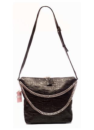 Практичная женская кожаная сумка. мягкая итальянская кожа, тис...