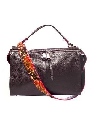 Модная сумка с толстым ремнем, итальянская натуральная кожа, ц...