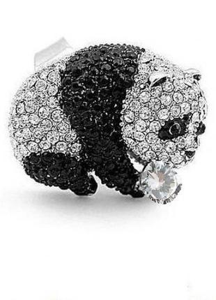 🏵красивое нарядное кольцо в стразах панда, безразмерное, новое...