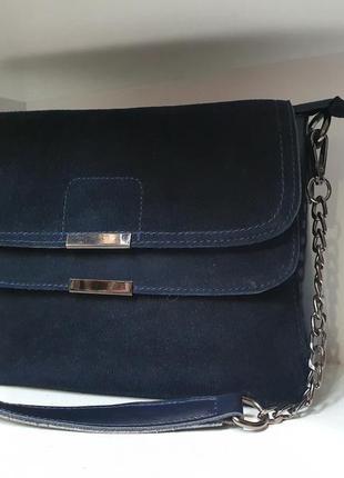 Стильная женская сумочка- клатч из натурального замша и натура...