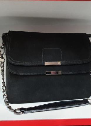Женская сумочка- клатч на цепочке из натурального замша и нату...