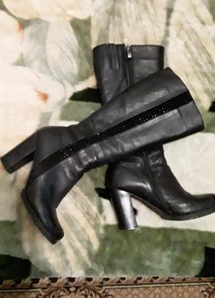 Сапоги зимние кожаные на цигейке