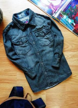 Детская супер стильная джинсовая рубашка - сорочка для мальчик...