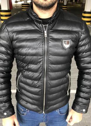 Мужская зимняя куртка parka philipp plein michelin black черна...