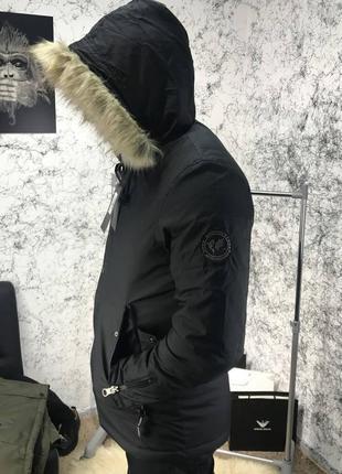 Мужская куртка парка white route carson parka black зимняя черная