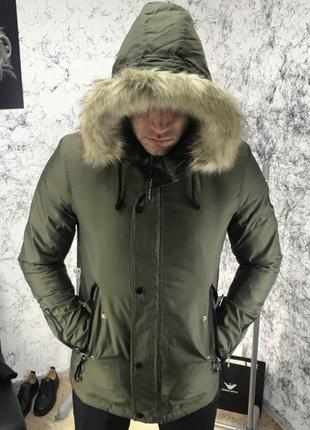 Мужская зимняя куртка парка white route carson parka green хаки