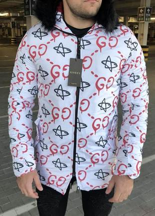 Мужская зимняя куртка парка jacquard white/red parka jacket белая