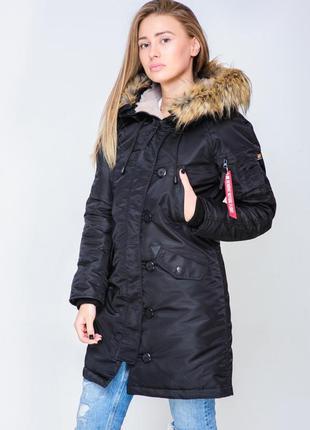 Женская парка аляска olymp n-3b slim fit, black черная
