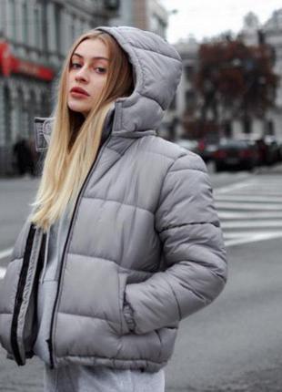 Куртка зимняя puff, grey серая унисекс