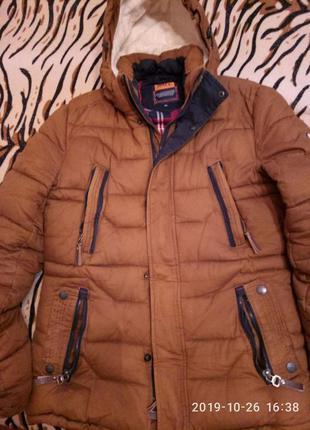 Мужская зимняя куртка, парка коричневая