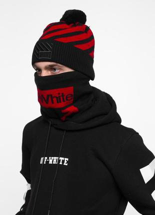 Комплект off white (шапка + бафф) черно-красный