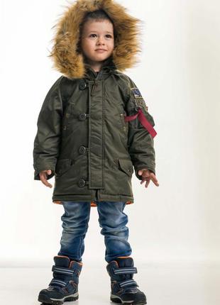 Детская зимняя парка olymp - аляска n-3b kids, khaki хаки