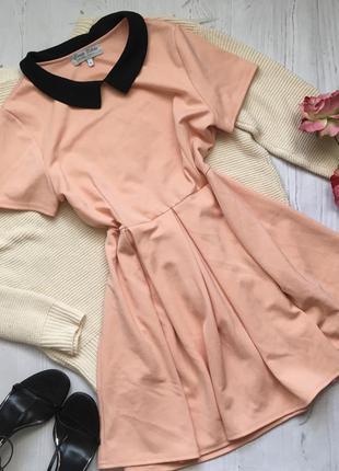 Персиковое  платье с воротничком (2xl)