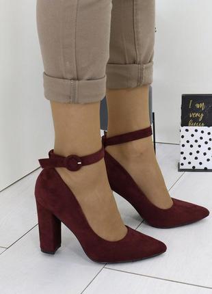 Новые шикарные женские бордовые туфли лодочки