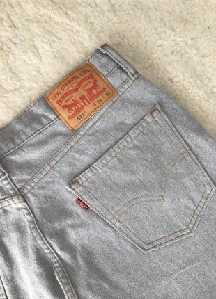 Серые джинсы с необработанным краем levis 511