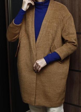 Карамельное шерстяное пальто кокон h&m