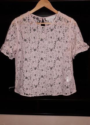 Красивая пудровая  кружевная блузка раз.l