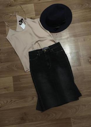 Уникальная джинсовая юбка rexton jeans с хвостом рр s
