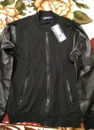 Нова підліткова куртка-бомбер з рукавами з кожзаму