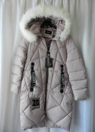 ✅ тёплая зимняя куртка пальто с мехом эко песец без меха