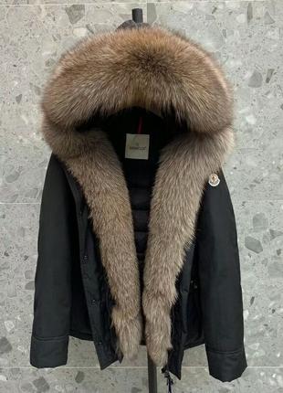 Moncler женская зимняя куртка с натуральным мехом