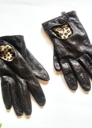 Демисезонные кожаные перчатки на флисе р. s-m (средний палец 8...