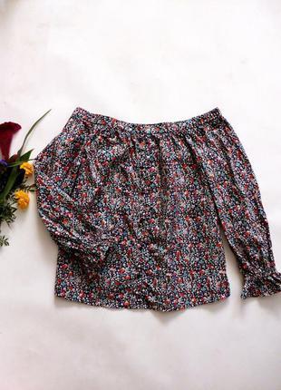 Хлопковая блуза в цветочный принт 14