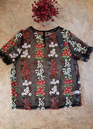 Блуза с вышивкой , фатин, тюль, сетка от f&f