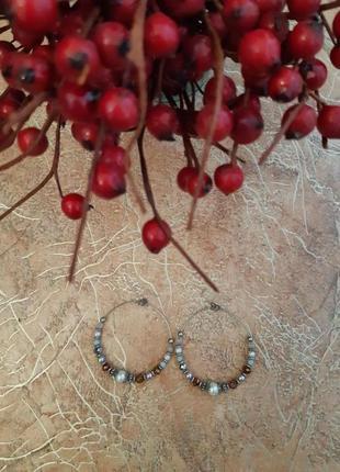 Круглые серёжки, серьги с бусинками