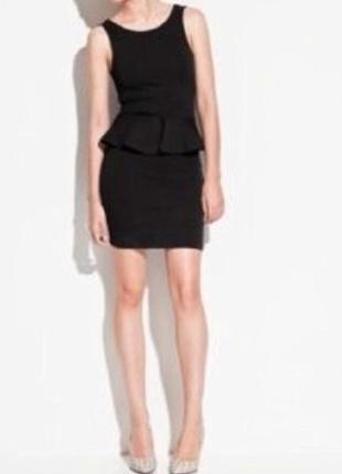 Платье черное с баской от zara