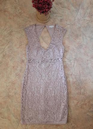 Платье гопюр с красивой спинкой, нюд, лилового цвета от river ...