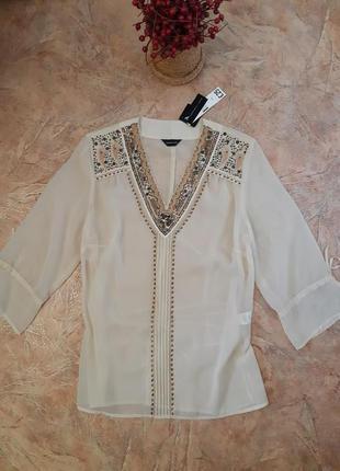 Прозрачная, нарядная блуза с вышивкой, пайетками от f&f