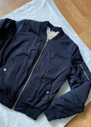 Бомбер куртка синяя внутри мех с колечком