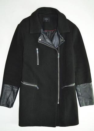 Пальто черное  косуха с кожаными вставками большой размер  от ...