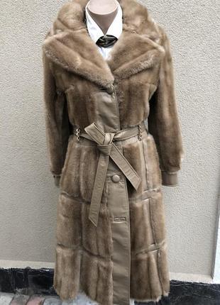 Англия,кожа пальто,мех под норку,кожа,шуба,винтаж,ретро стиль,...