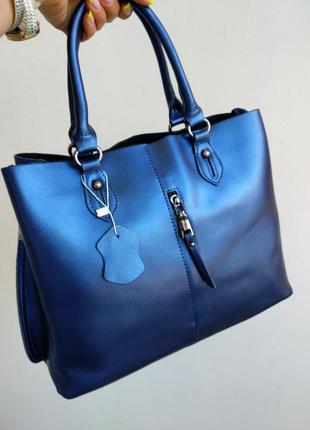Кожаная сумка из натуральной кожи, синяя, есть длинный ремень