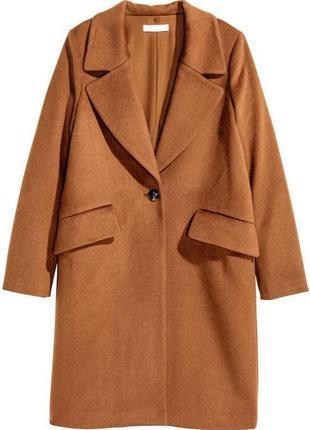 Базовое шерстяное миди пальто h&m карамельное