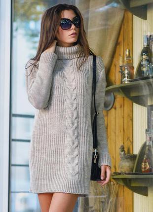 Стильная теплая туника- платье