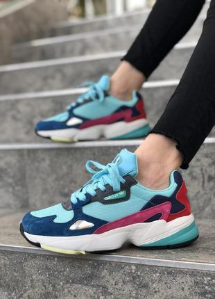 Спортивные женские кроссовки adidas falcon в бирюзовом цвете /...