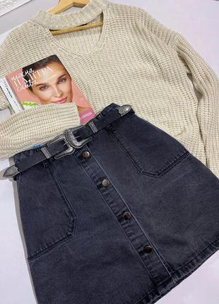 Джинсовая юбка с пуговицами плотная размер 30/l